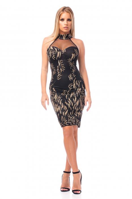 Rochie elegantă neagră cu decolteu dantelat 0