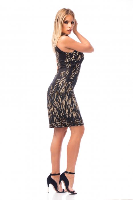 Rochie elegantă neagră cu decolteu dantelat 3