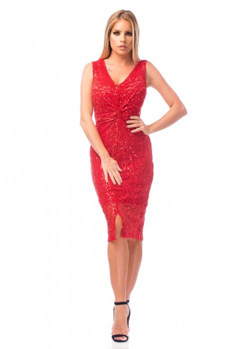 Rochie elegantă roșie cu decolteu în V 0
