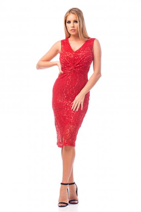 Rochie elegantă roșie cu decolteu în V 2