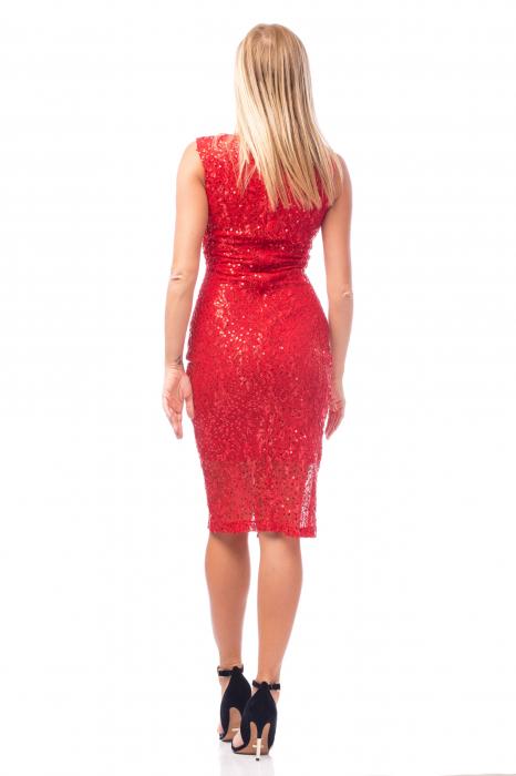 Rochie elegantă roșie cu decolteu în V 3