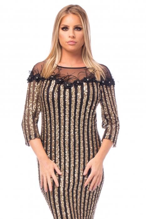 Rochie elegantă cu decolteu amplu din dantelă 1