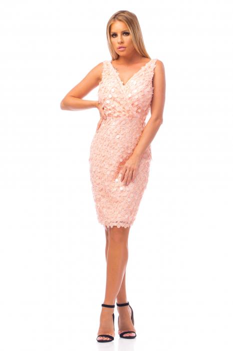Rochie elegantă roz cu decolteu în V 0