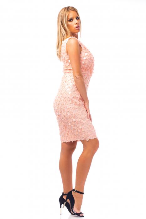 Rochie elegantă roz cu decolteu în V 2