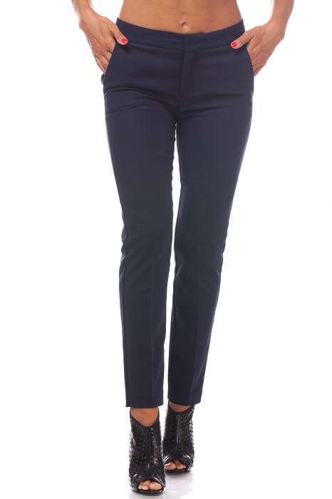 Pantaloni clasici din tercot bleumarin 0