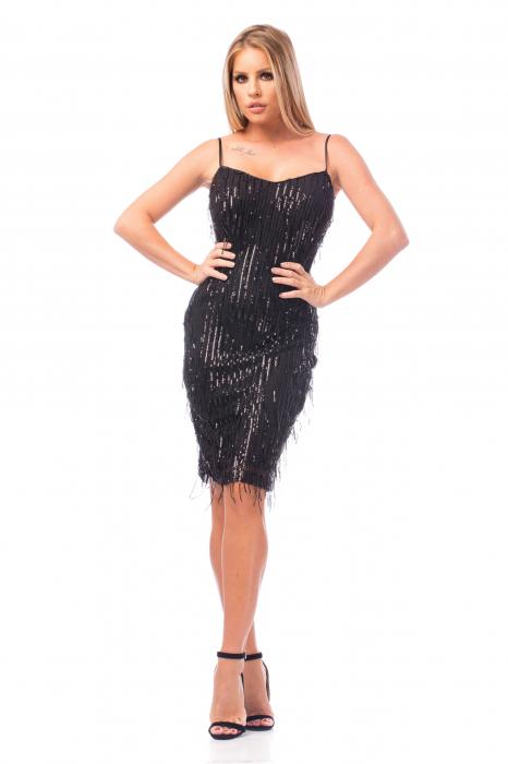 Rochie elegantă neagră cu paiete 0