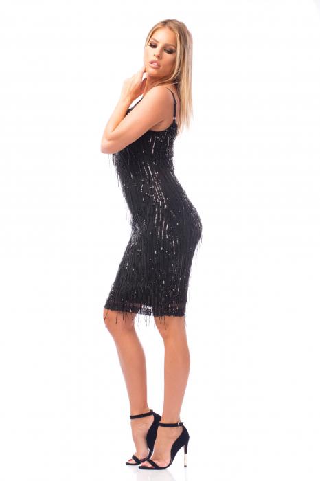 Rochie elegantă neagră cu paiete 2
