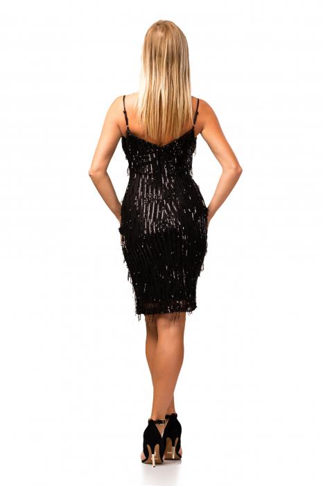 Rochie elegantă neagră cu paiete 3