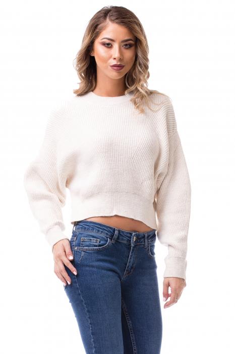 Pulover tricotat alb scurt 0
