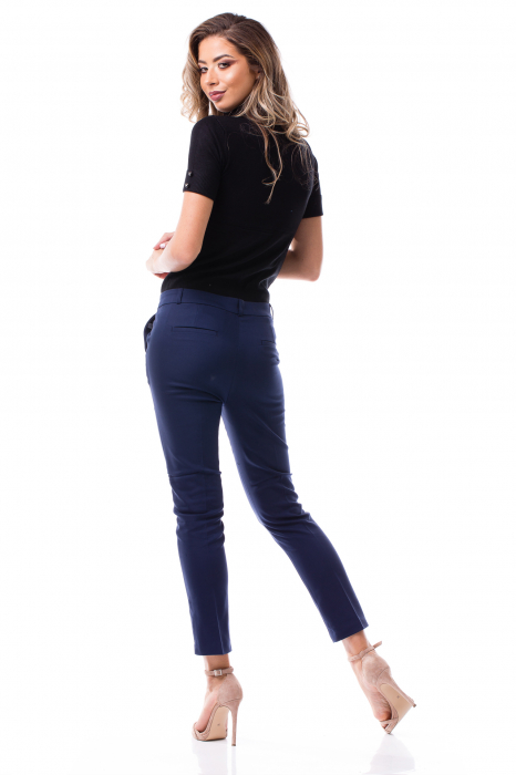 Pantaloni clasici din tercot bleumarin 3
