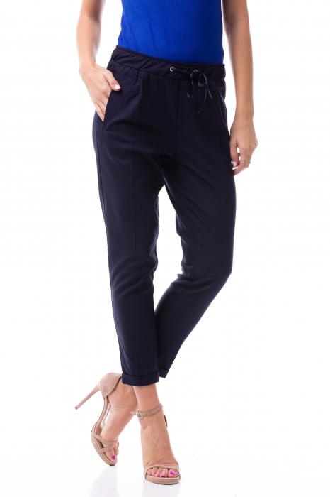 Pantaloni casual - office cu șiret pe talie 1