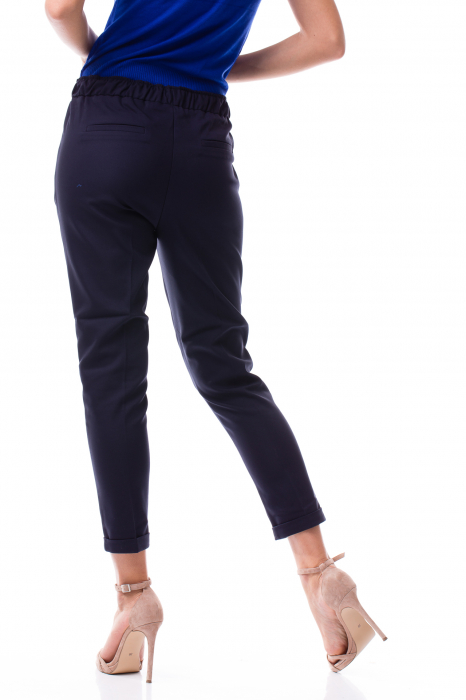 Pantaloni casual - office cu șiret pe talie 2