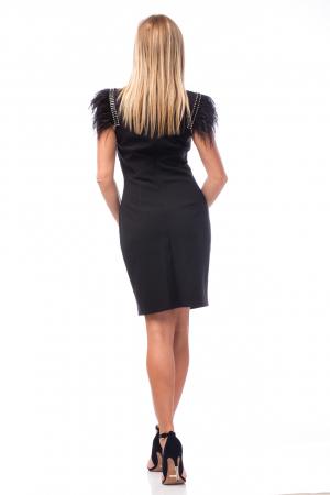 Rochie neagră cu strasuri și pene3