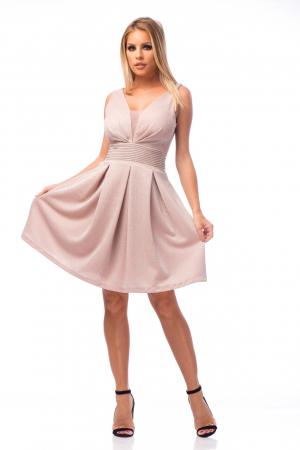 Rochie elegantă cu strasuri aplicate pe talie0