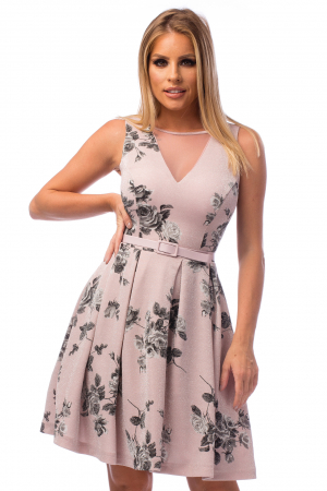 Rochie elegantă cu decolteu în V și flori negre2