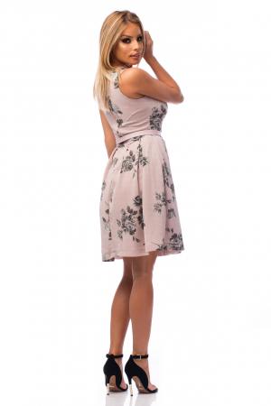 Rochie elegantă cu decolteu în V și flori negre3