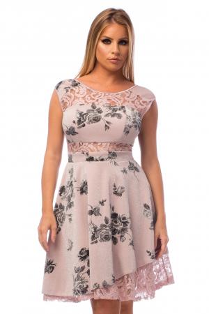 Rochie elegantă cu flori negre și elemente din dantelă2