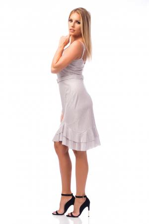 Rochie elegantă cu bretele subțiri și volane aplicate2