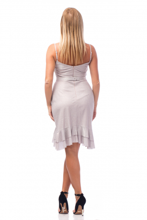 Rochie elegantă cu bretele subțiri și volane aplicate3