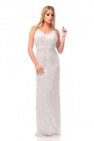 Rochie elegantă cu franjuri aplicați și spatele gol0