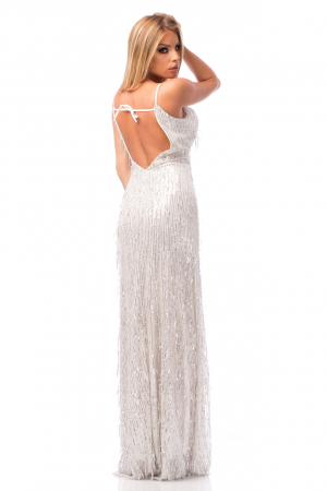 Rochie elegantă cu franjuri aplicați și spatele gol2