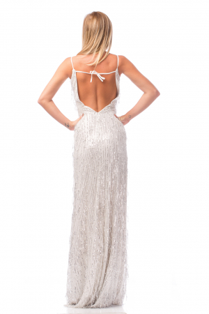 Rochie elegantă cu franjuri aplicați și spatele gol3