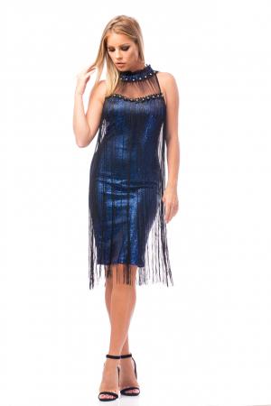 Rochie de ocazie bleumarin cu franjuri negri0