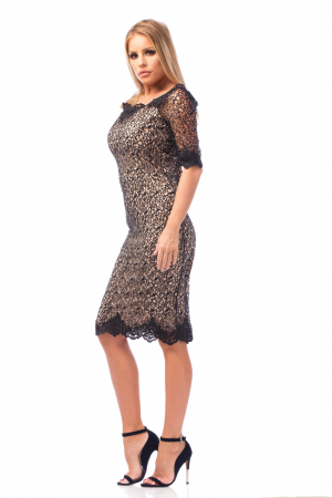 Rochie elegantp cu inserții dantelate2