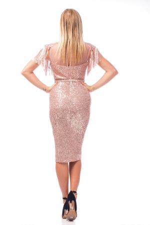 Rochie elegantă tip creion cu franjuri și inserții strălucitoare3