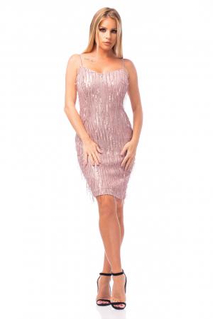 Rochie elegantă scurtă cu barete subțiri0
