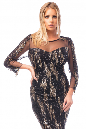 Rochie de ocazie neagră cu mâneci transparente1