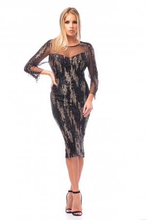 Rochie de ocazie neagră cu mâneci transparente0