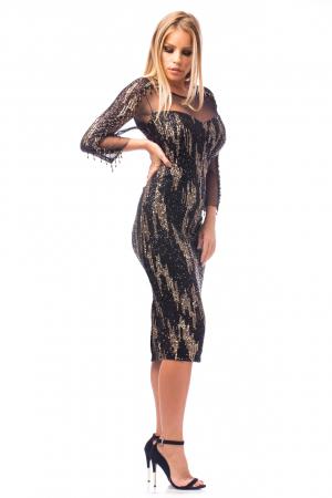 Rochie de ocazie neagră cu mâneci transparente2