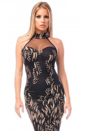 Rochie elegantă neagră cu decolteu dantelat1