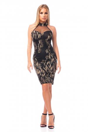 Rochie elegantă neagră cu decolteu dantelat0