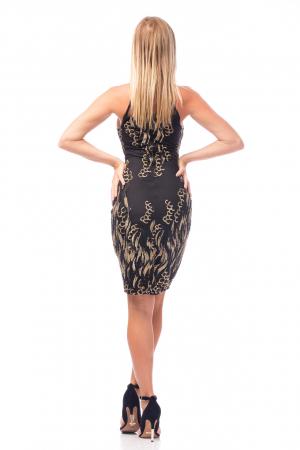Rochie elegantă neagră cu decolteu dantelat2