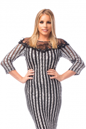 Rochie elegantă bicoloră1