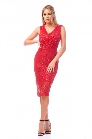 Rochie elegantă roșie cu decolteu în V2