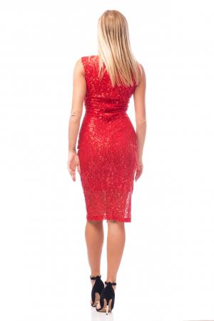 Rochie elegantă roșie cu decolteu în V3