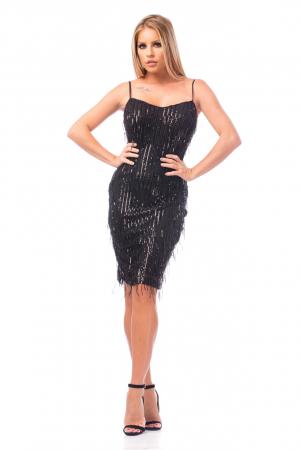 Rochie elegantă neagră cu paiete0