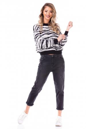 Pulover tricotat cu model Zebra0