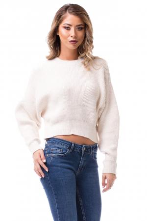 Pulover tricotat alb scurt0