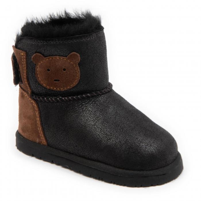 Cizme imblanite antracit cu ursulet, DODO Shoes [0]