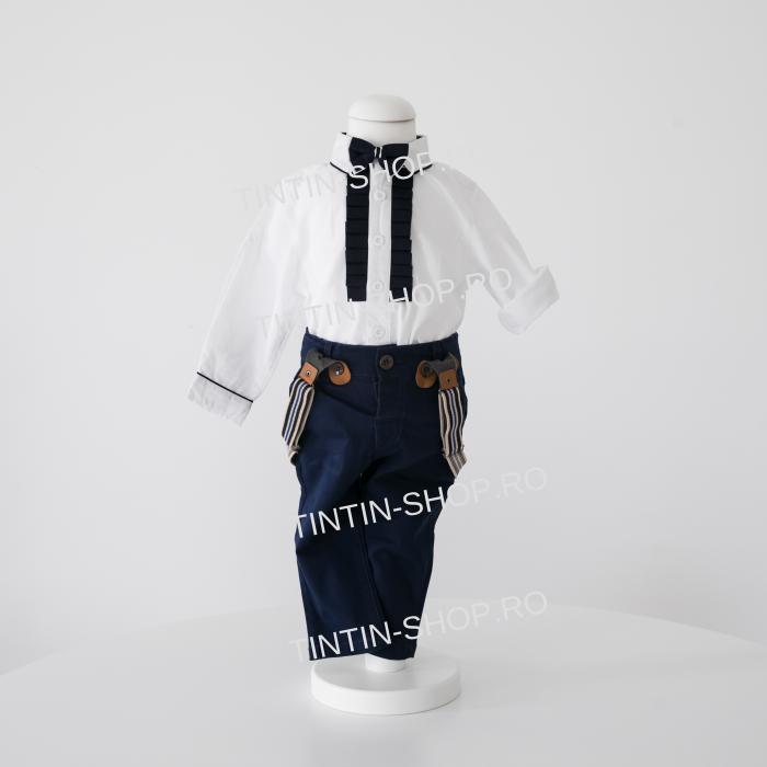 Pantaloni Bleumarin Din Tercot Pentru Băiat, cu Bretele, TinTin Shop [0]
