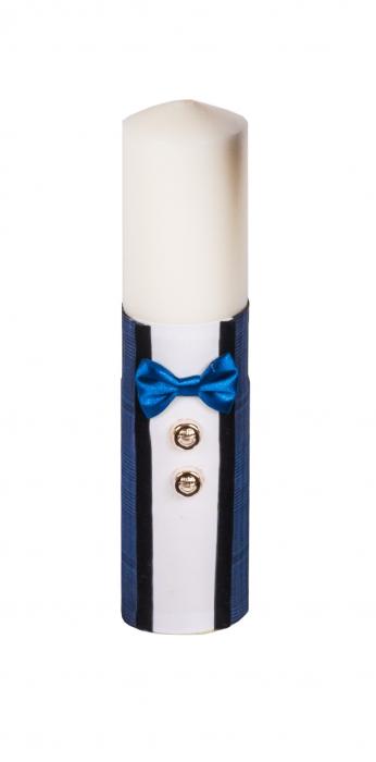 Lumânare botez eleganta bleumarin cu papion, TinTin Shop [0]