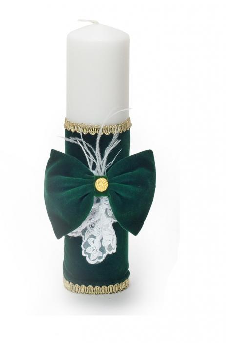 Lumânare verde din catifea si pene, pentru botez, Micul Print, TinTin Shop [0]