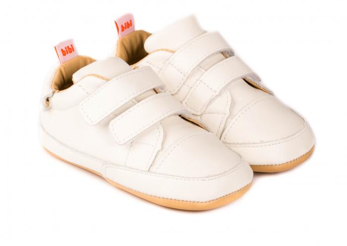 Pantofi Bibi Afeto Joy albi cu velcro 0