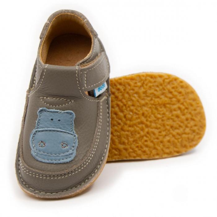 Pantofi copii cafea cu lapte cu hipopotam, Dodo Shoes 0