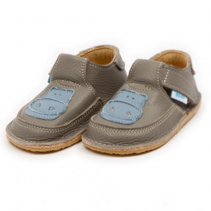 Pantofi copii cafea cu lapte cu hipopotam, Dodo Shoes 1