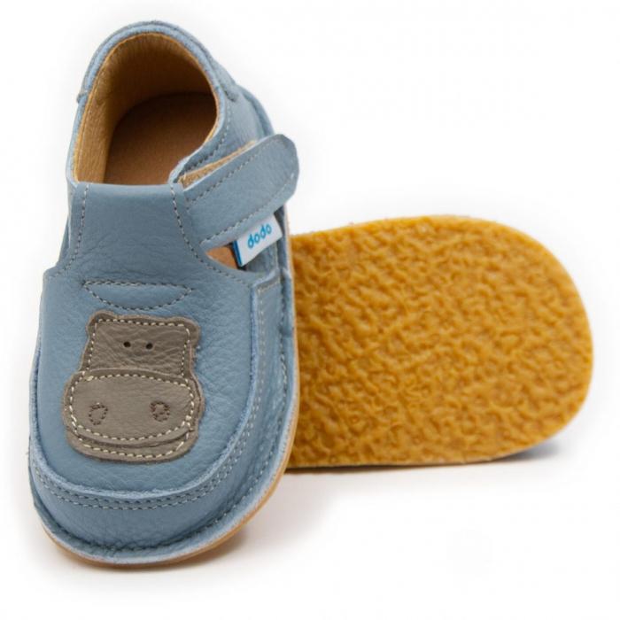 Pantofi copii baby blue cu hipopotam, Dodo Shoes 0
